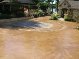 malay tan driveway stained