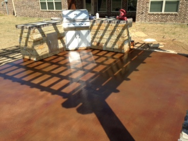 this patio has cola stain