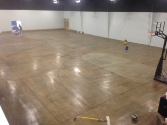 basketball floor in vintage umber
