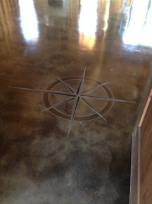 black acid stain and compass
