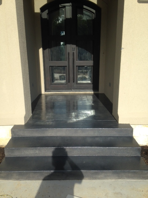 grey stained entryway